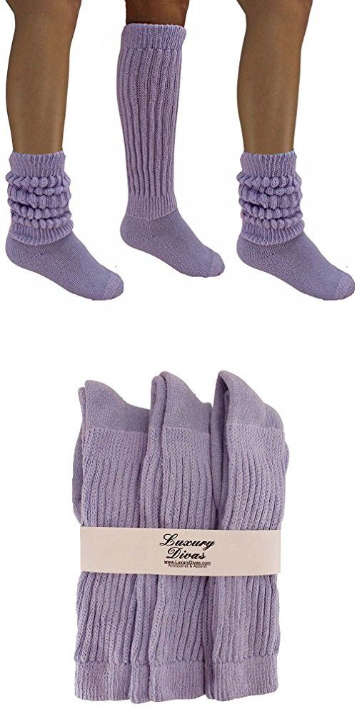 69e445a0dc7 Luxury Divas Lilac Purple All Cotton 3 Pack Extra Heavy Slouch Socks ...