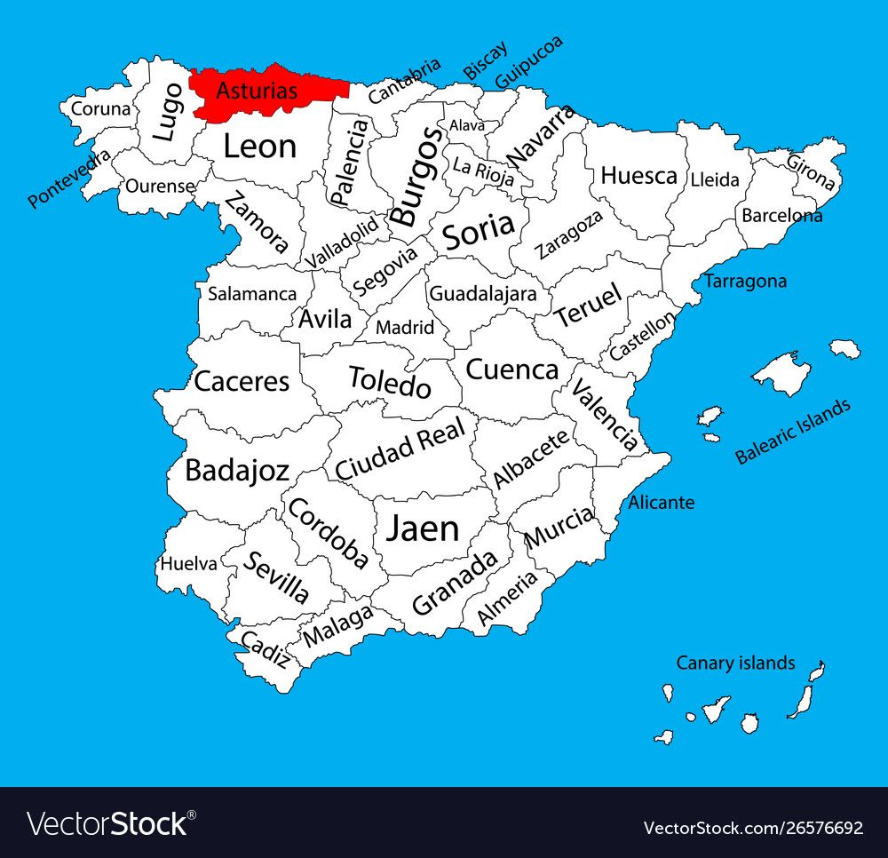 Asturias Map Spain Province Administrative Map Vector Image On Vectorstock In 2020 Map Map Of Spain Asturias