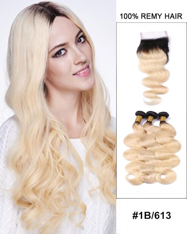 10 22 Free Part Lace Closure With 3 Bundles 1b613 Ombre Body
