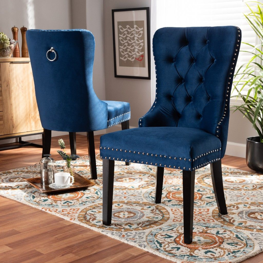 Baxton Studio Remy Modern Transitional Navy Blue Velvet Fabric Espresso Finished 2 Pc Wood Dining Chair In 2021 Dining Room Blue Blue Dining Room Chairs Dining Chairs