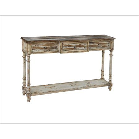 Ski Furniture Distressed Wood Console Table Natural Brown