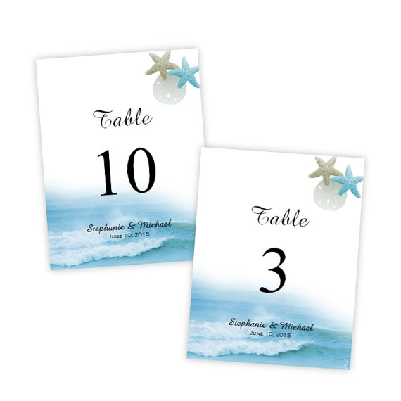 Table Number Template - Ocean Waves - DIY Printable Template