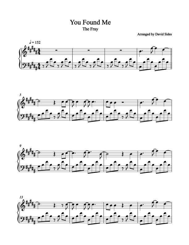 You Found Me The Fray Piano Sheet Music In 2018 Lyrics To Songs