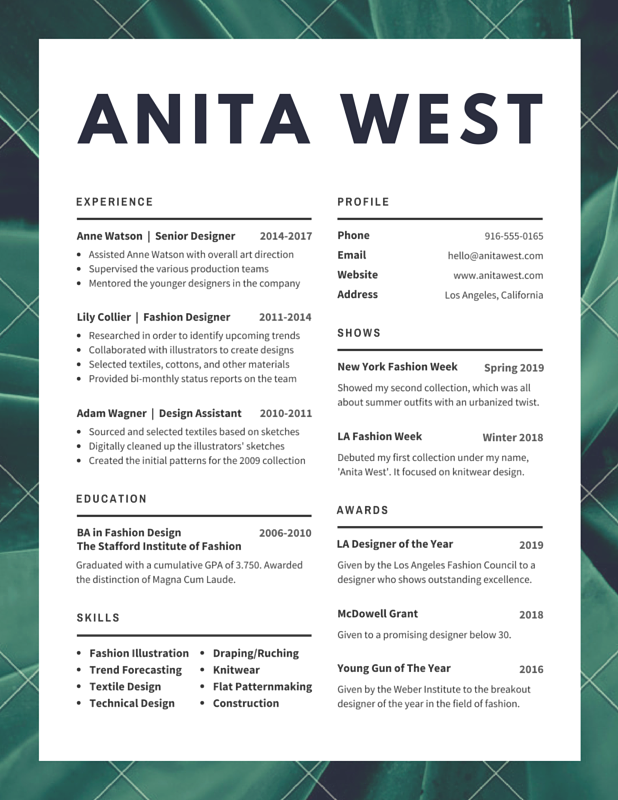 Fashion Design Resume Templates Best Resume Examples