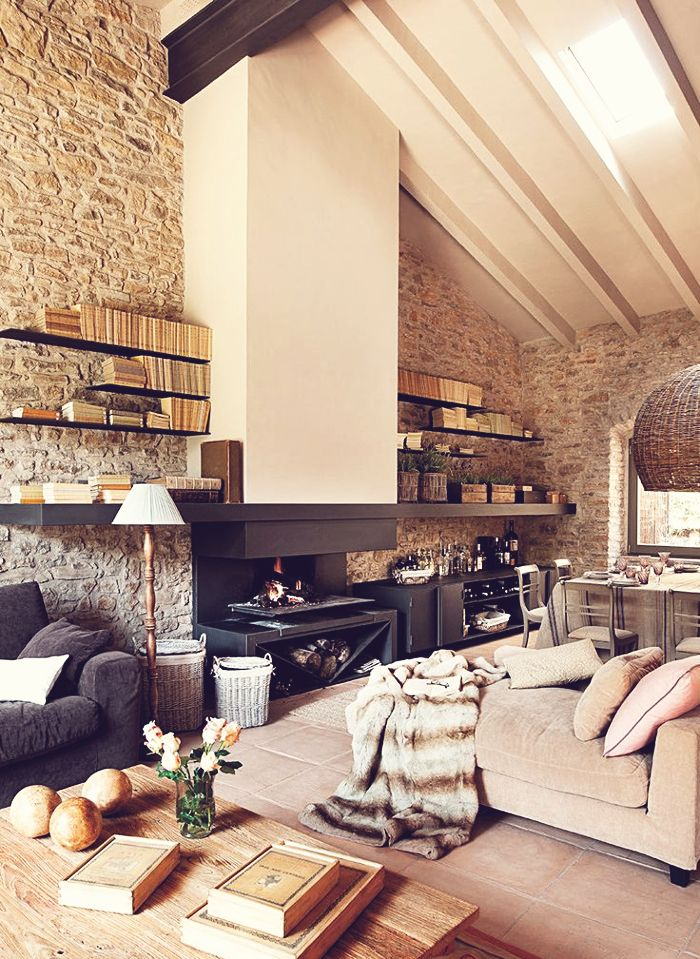 Interior Design Stone Stable House - dustjacket attic Home - diseo de chimeneas para casas