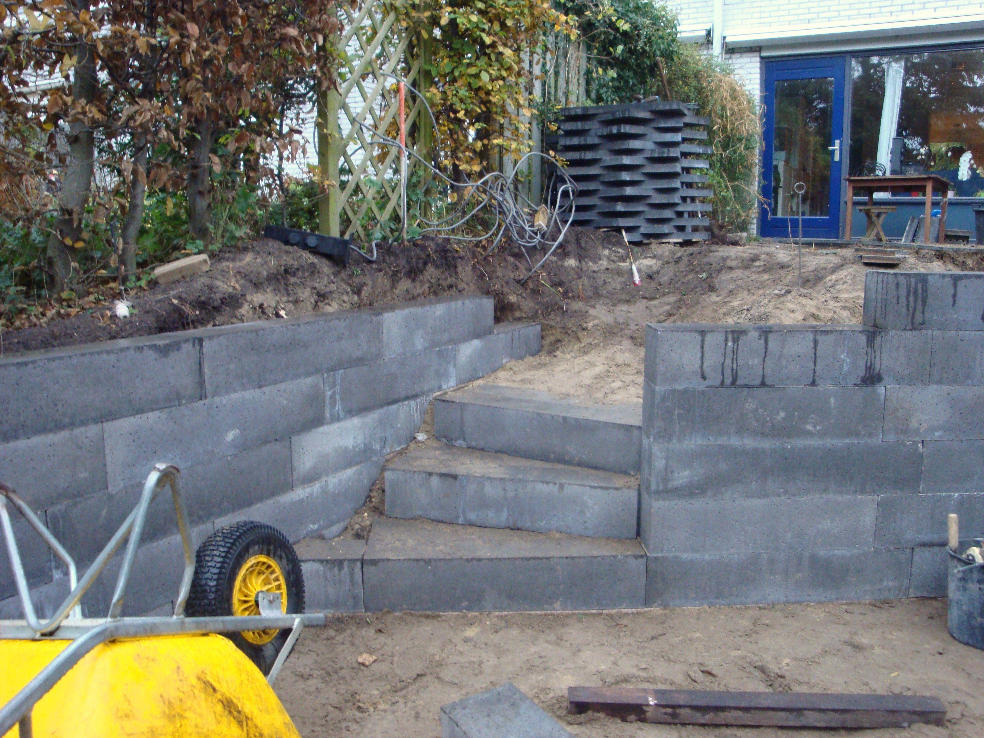 Aan de waterkant wordt een grondkering gemaakt om het for Trap tuin aanleggen