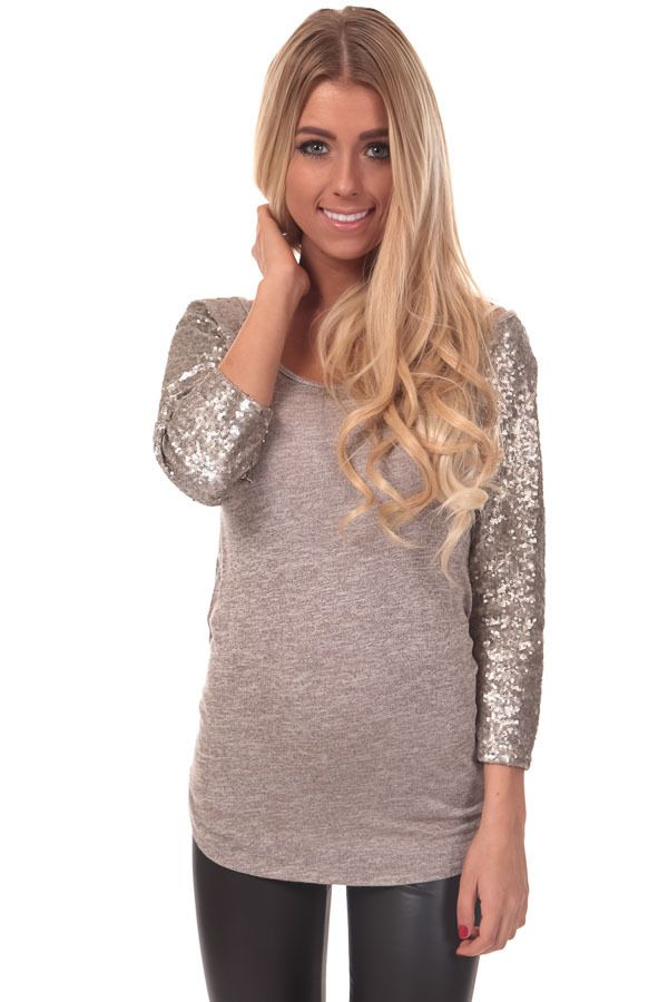 Lime Lush Boutique - Oatmeal Top with 3/4 Sequin Sleeves, $29.99 (http://www.limelush.com/oatmeal-top-with-3-4-sequin-sleeves/)
