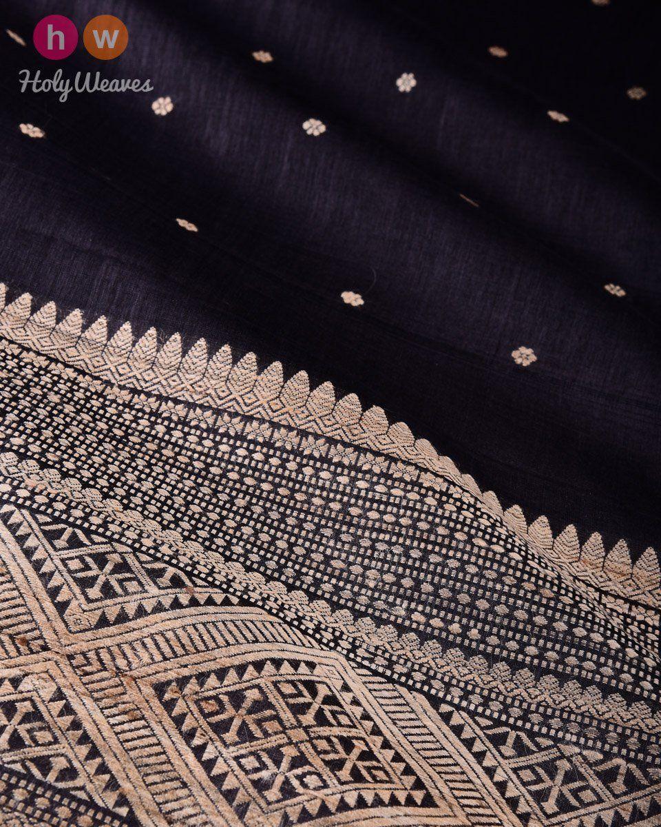 Black Karnaphool Kadhuan Brocade Handwoven Tasar Silk Saree with Assam Pallu  #Saree #Handwoven #Brocade #Varanasi #Banaras #Handloom #Kashi #Sari #India