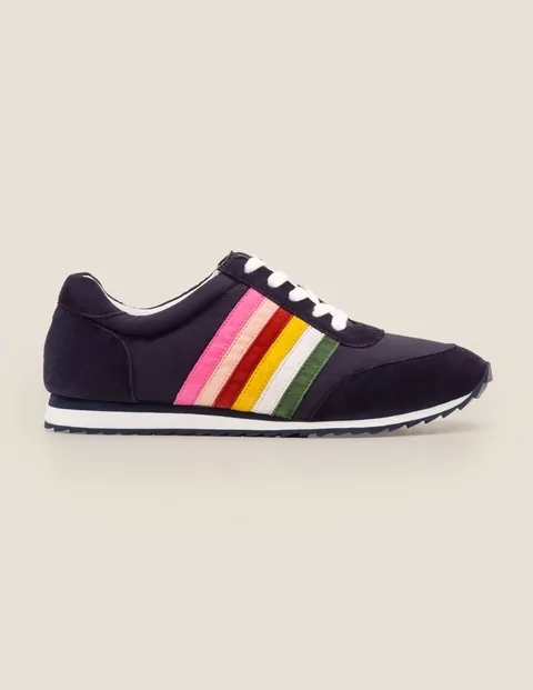 Striped Sneakers - Navy and Rainbow in