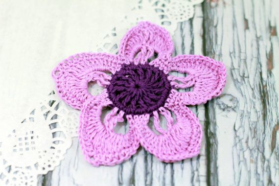Flower Motif Crochet Flower Pin Crochet Flower Brooch Pattern Pdf