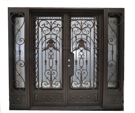 Share Exterior Front Entry Iron Double Door With Side Light Iron Doors Steel Entry Doors Metal Door