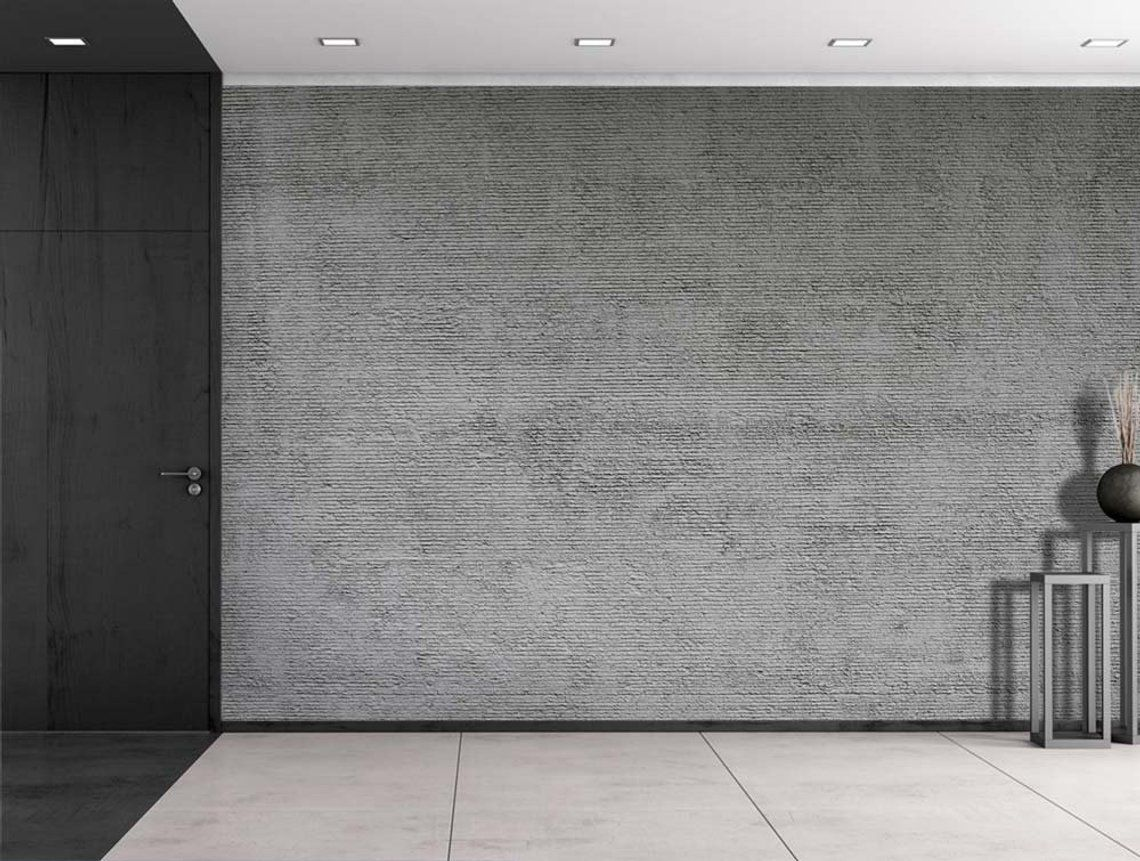 Wall26 Gray StripedTextured Cement Wall Mural, Home