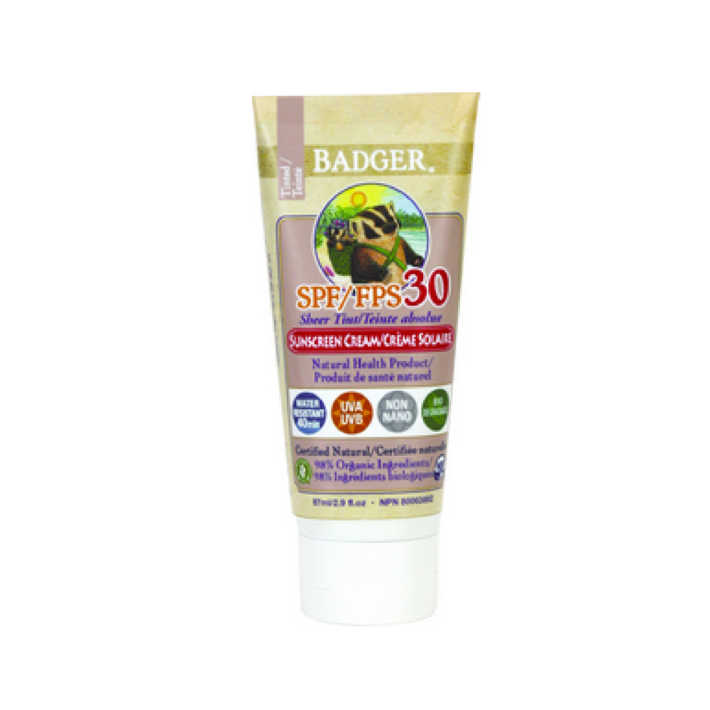 Badger Sheer Tinted Sunscreen Cream SPF 30 Unscented