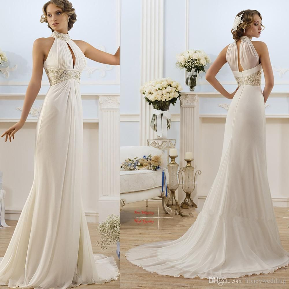 2016 Greek Style Elegant Ivory / White High Neck Beaded Beach ...