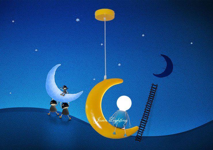 Crianças / iluminação de banda desenhada / lâmpadas do quarto do bebê droplight lua e lanternas-in Luzes Pingente de de Luzes e iluminação em Aliexpress.com