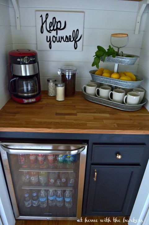 DIY Beverage Bar made with stock cabinets, chalky finish paint and butcher block! This space was a closet under the stairs. #decoartprojects #chalkyfinish #spon @decoart