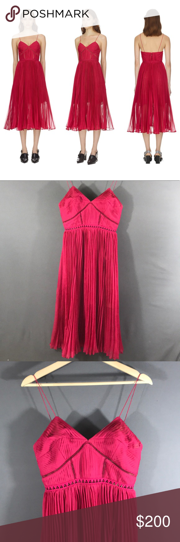 1ed304731cb9 Self-Portrait fuchsia pleated chiffon midi dress This item is brand new  with tag 100% Authentic Self- Portrait Fuchsia pleated chiffon midi dress  Cut from ...