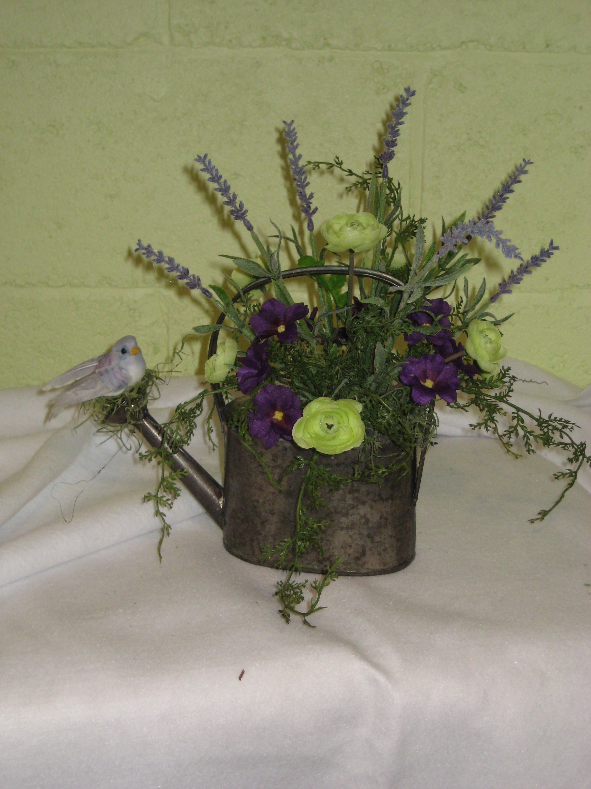 Watering Can With Silk Flowers Available For Sale At Pigeon In The