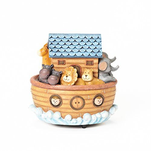 """Roman Exclusive """"Noah's Ark"""" Wind Up Musical Box Features The Animals on Board and Plays """"Talk to The Animals"""", 6-Inch"""