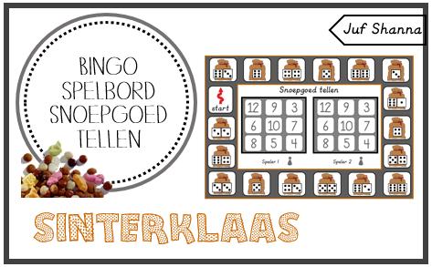 Thema Sinterklaas: bingo spelbord 'snoepgoed tellen' (Juf Shanna) #themasinterklaas