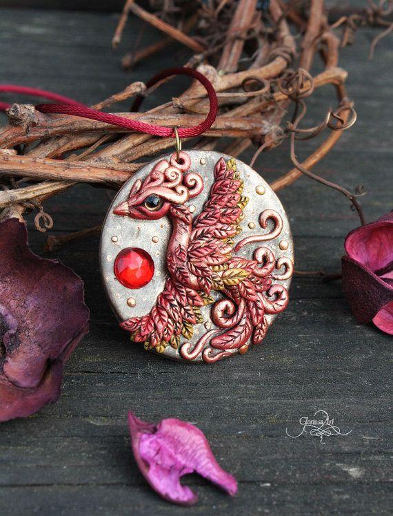 Phoenix medallion - phoenix bird pendant - necklace - fantasy jewelry - fire bird - amulet pendant - wiccan jewelry - polymer clay - fimo art - hadmade - ooak by GloriosaArt