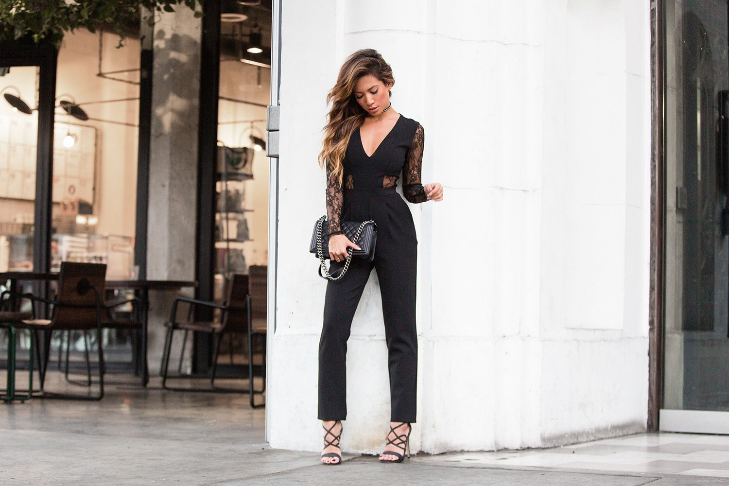 3cb0ea270d7 Express Black Lace Jumpsuit featuring Jessi Malay