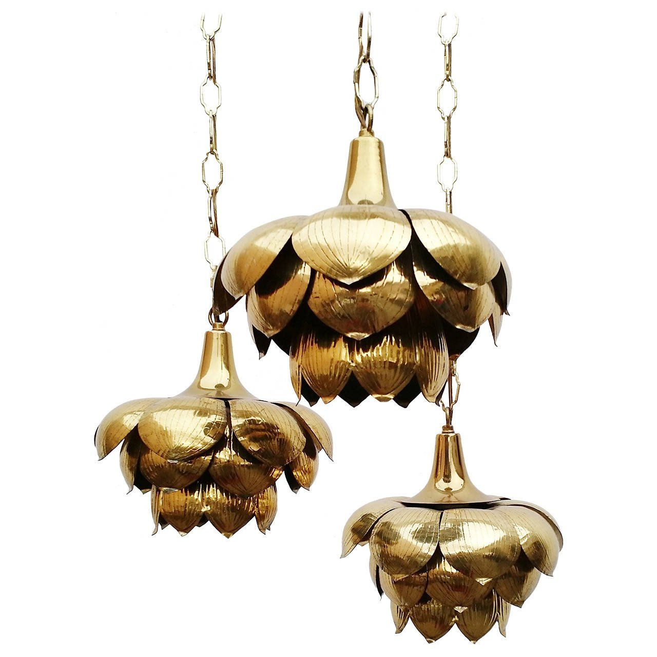 Hollywood regency brass triple lotus pendant chandelier by feldman hollywood regency brass triple lotus pendant chandelier by feldman co aloadofball Choice Image