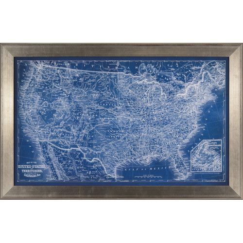 Us map blueprint framed print wall art pinterest blue art us map blueprint framed print malvernweather Image collections