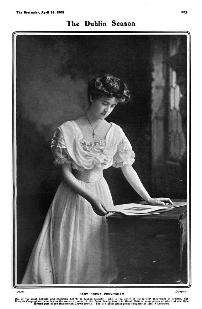 Columnar dresses are coming, but not yet arrived in 1908 when Lafayette took this photo of Lady Edena. Her dress has two bertha - one of lace doubling as epaulettes and the other of plain material above it knotted below her neckline.