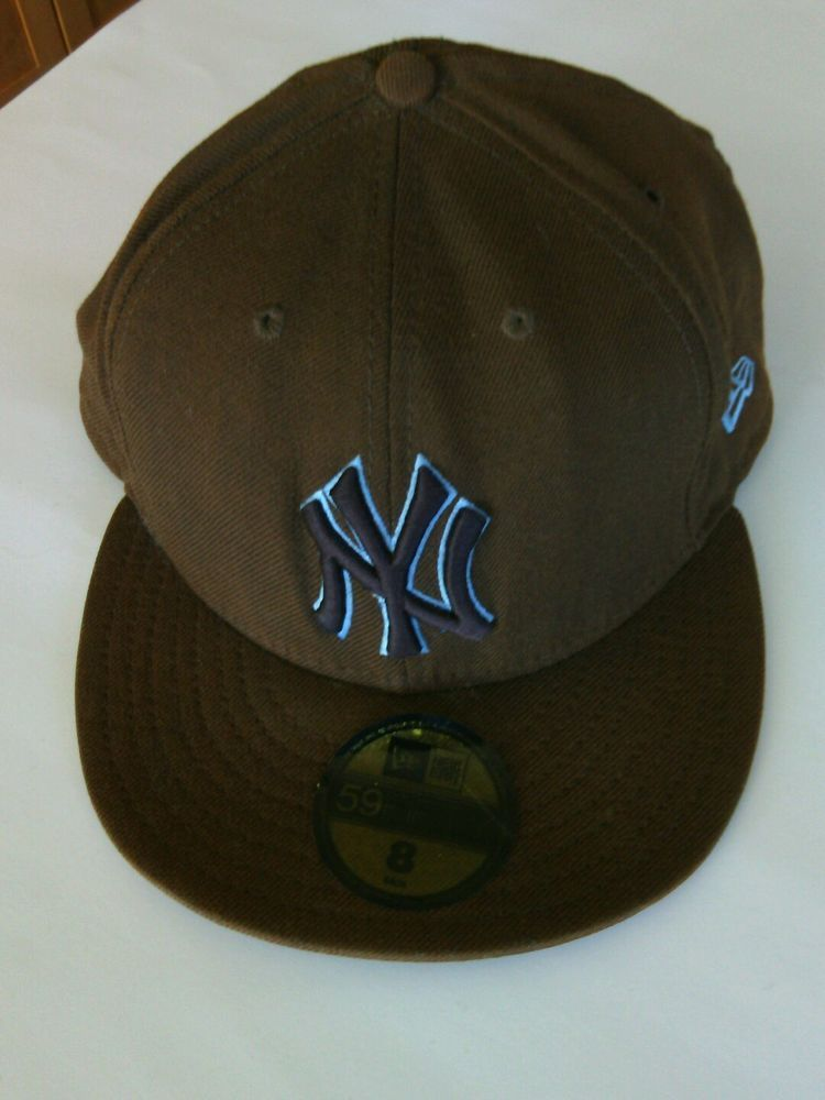 3d0788e19b8 New York Yankees Baseball Cap Size 8 Fitted Hat 59fifty MLB Ball NY Brown  USA