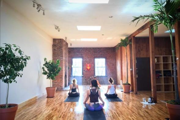 New Vibe Yoga For Yoga Classes Fitreserve Yoga Studio Yoga Exposed Brick