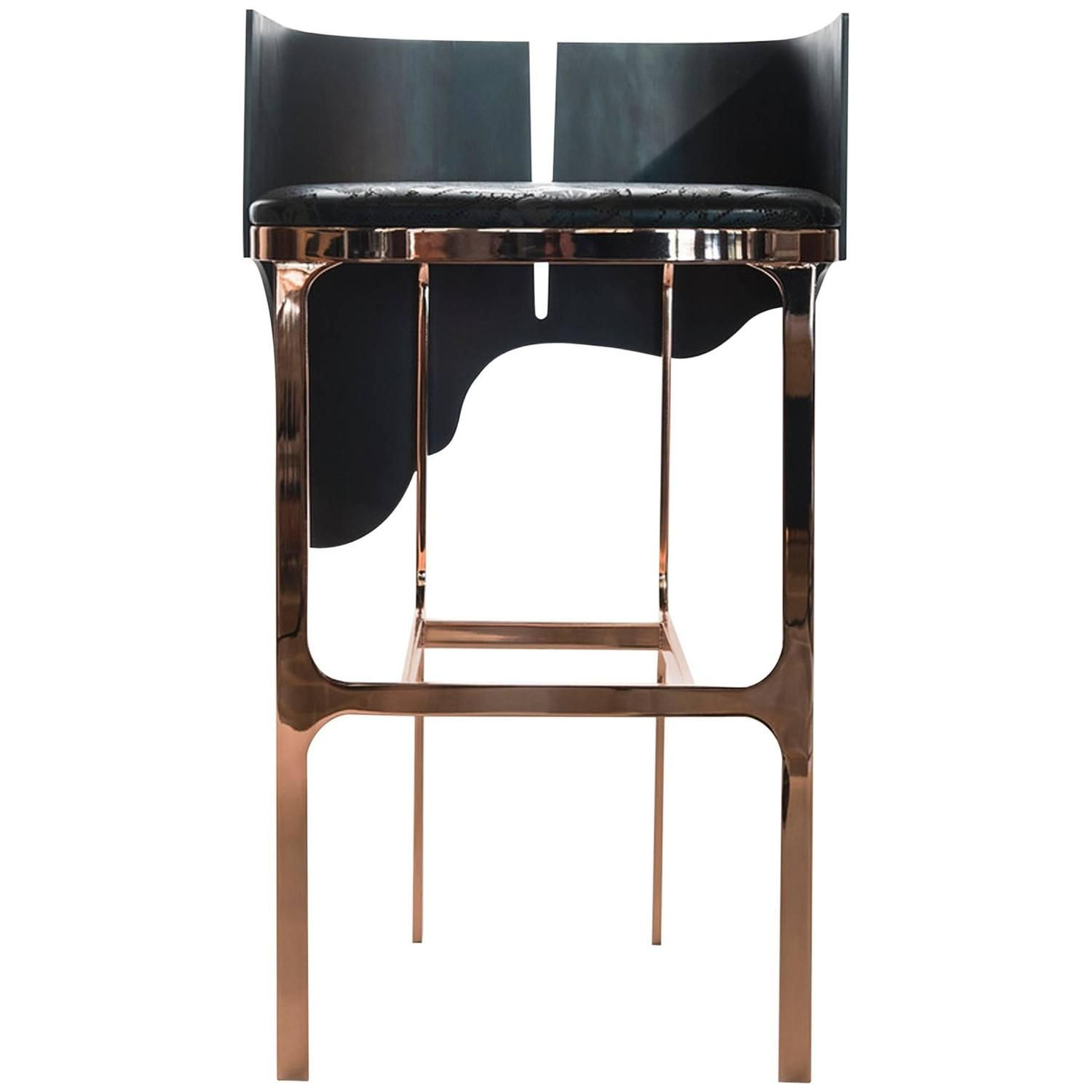 Contemporary Lava Bar Stool in Rose Gold Leather and Bronze