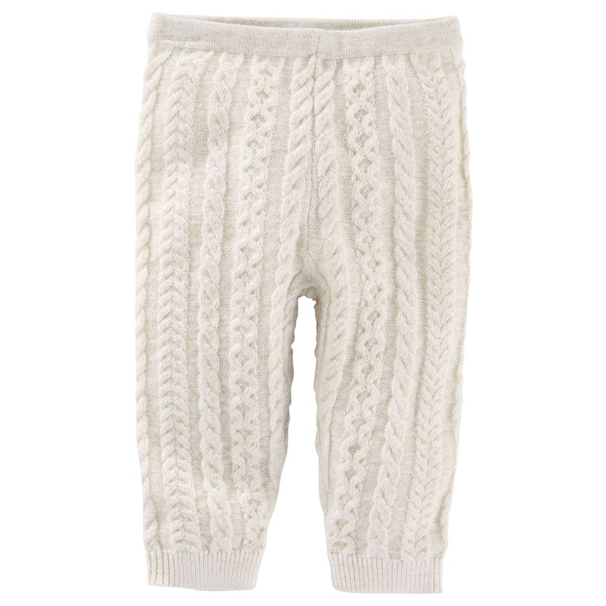 Baby Girl Oshkosh Bgosh White Cable Knit Sweater Leggings Size
