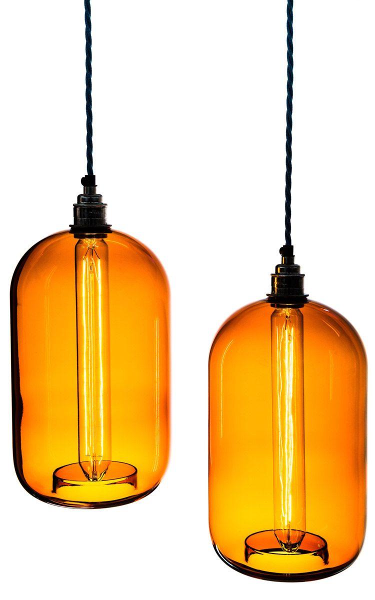 Two amber glass cylinder shade pendants pendant lights pinterest two amber glass cylinder shade pendants aloadofball Gallery