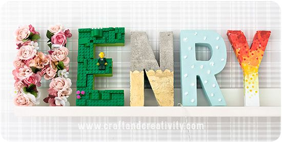 Decoupage on paper mache letters , by Craft \u0026 Creativity