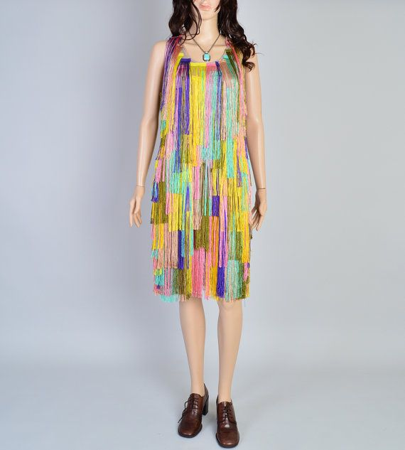 LIQUIDATION SALE Rainbow Shag Dress / Vintage Fringe Dress ...