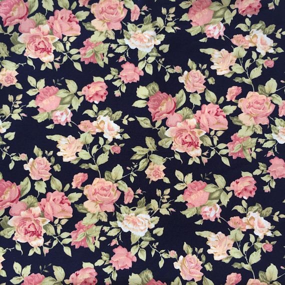 31a03aa23e5 Floral Cotton Fabric, beatiful flower on black background, cute, 100%  Quilting Cotton Fabric by yard