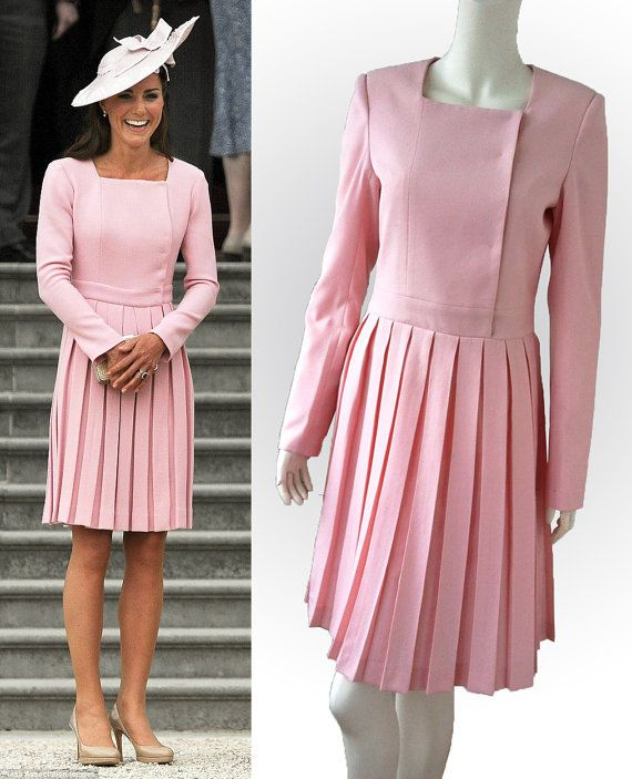 Princess Kate Middleton - Duchess of Cambridge - Light pink pleated dress with long sleeves - Buckingham Palace Tea Party - June 2012 - Etsy - $219