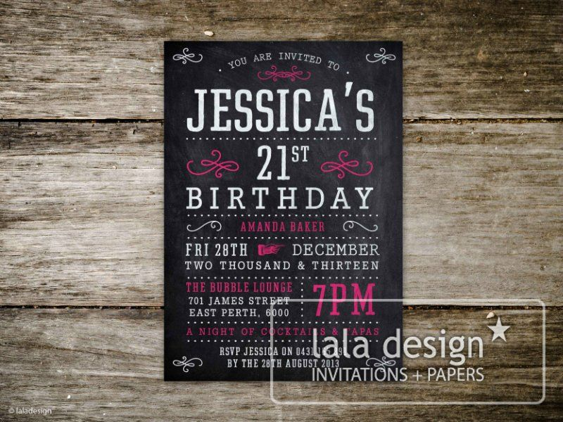 Blackboard St Birthday Invitation Female Birthday Invitations - 21st birthday invitations pinterest