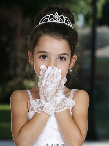 Girls White Wrist Length Satin Special Occasion Communion Gloves 0-14