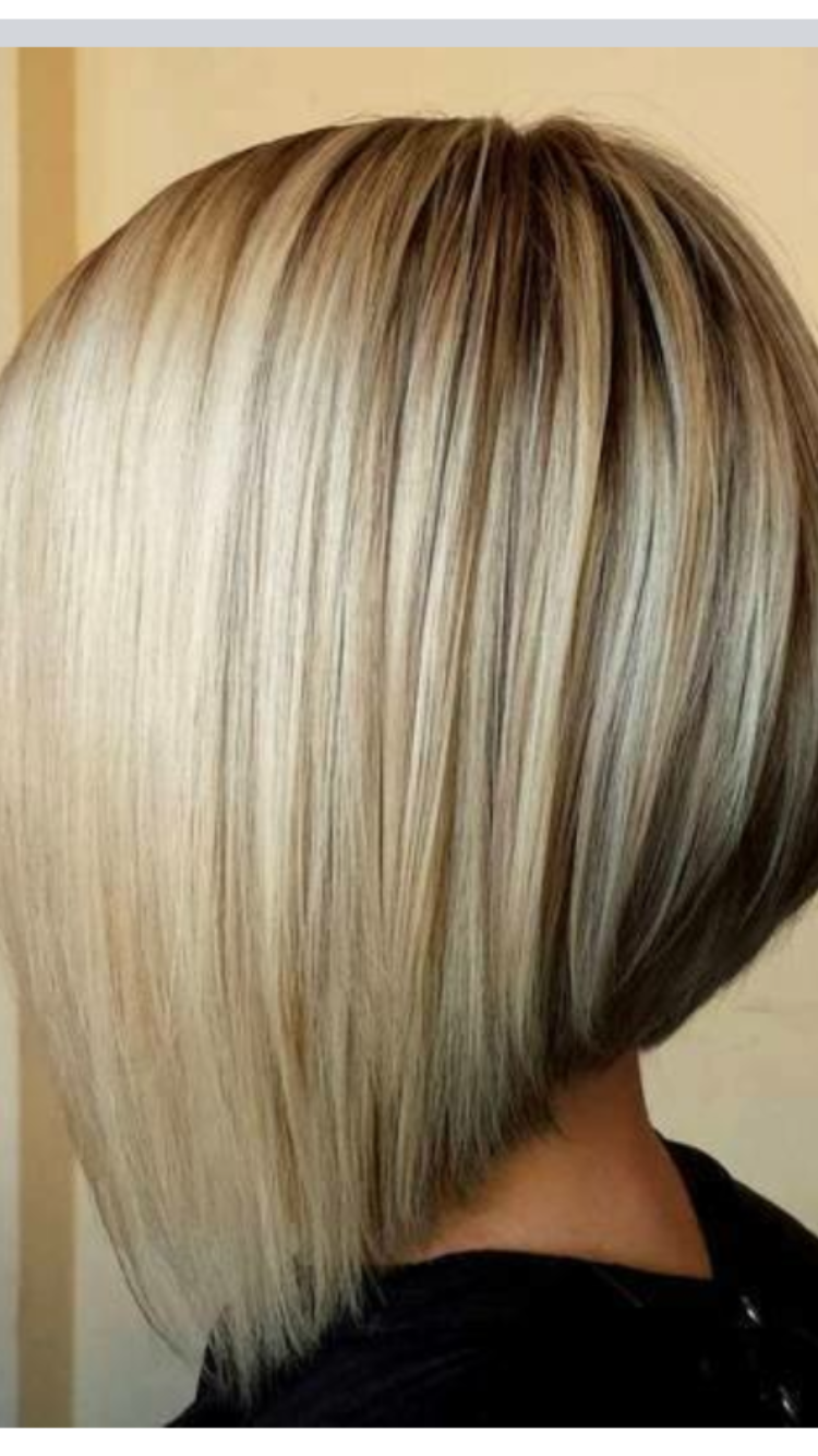 short angled bob blonde hair pin on lob haircut