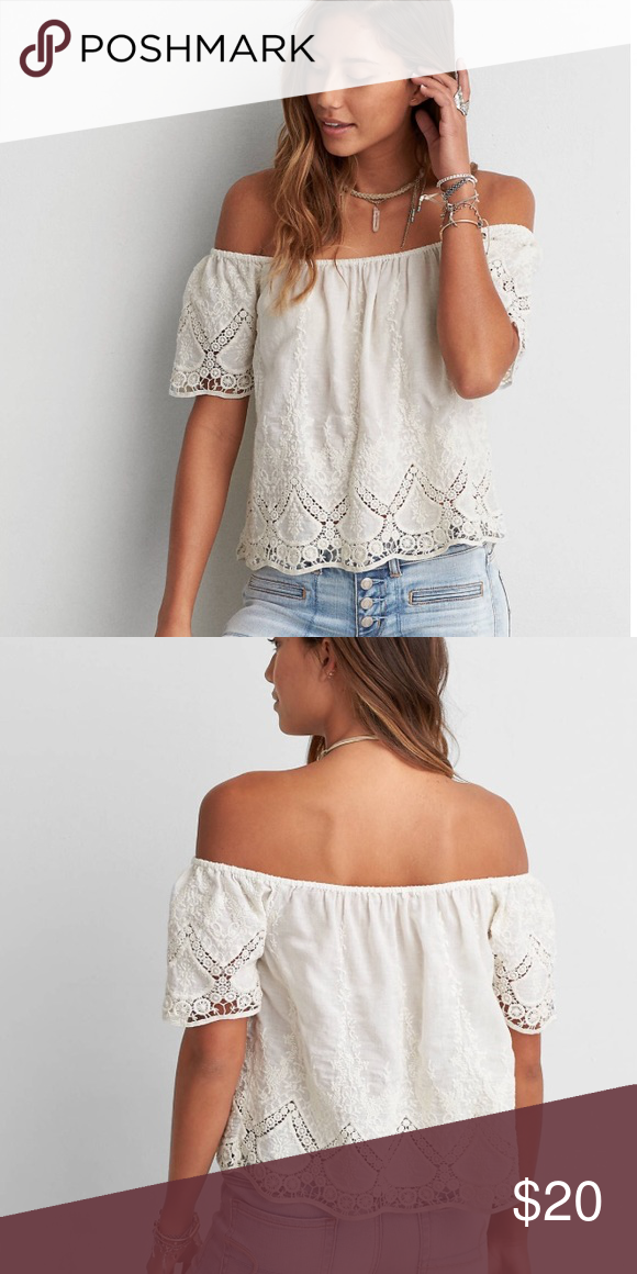 77ce9f303f5da AEO Eyelet Off-the-Shoulder Top Cream Never worn. American Eagle Outfitters  Tops Blouses