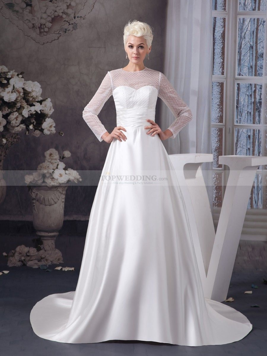 Long Sleeved Elegant Satin Wedding Gown With Sheer Top