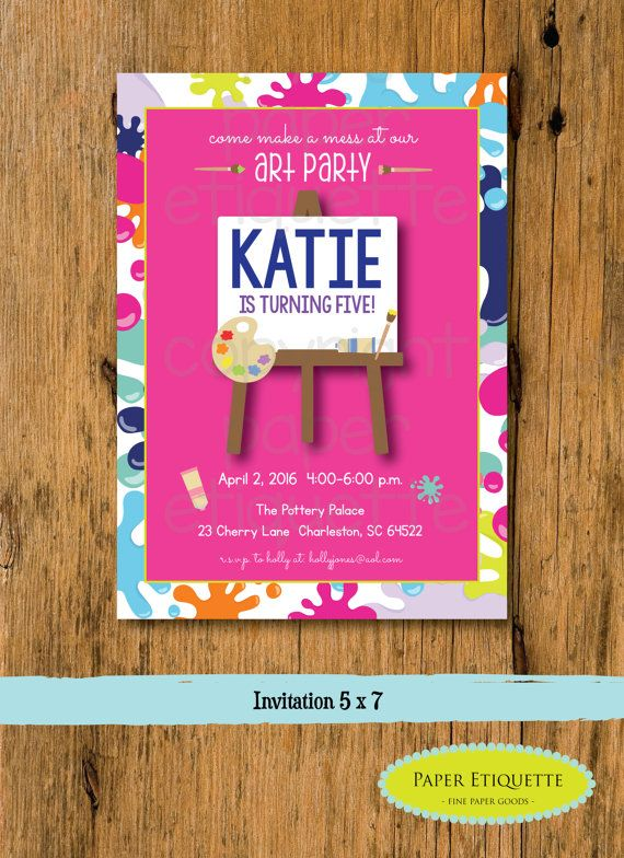 Art Party Birthday Invitation Painting By PaperEtiquette