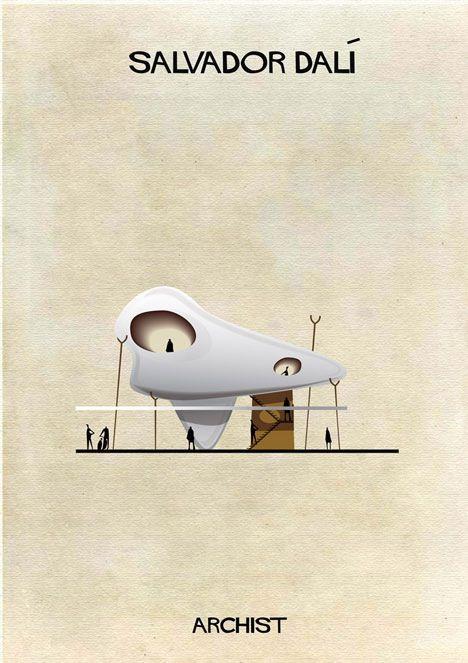 意大利建筑师和插画家federico Babina将蒙特里安 安迪 沃霍尔 达明