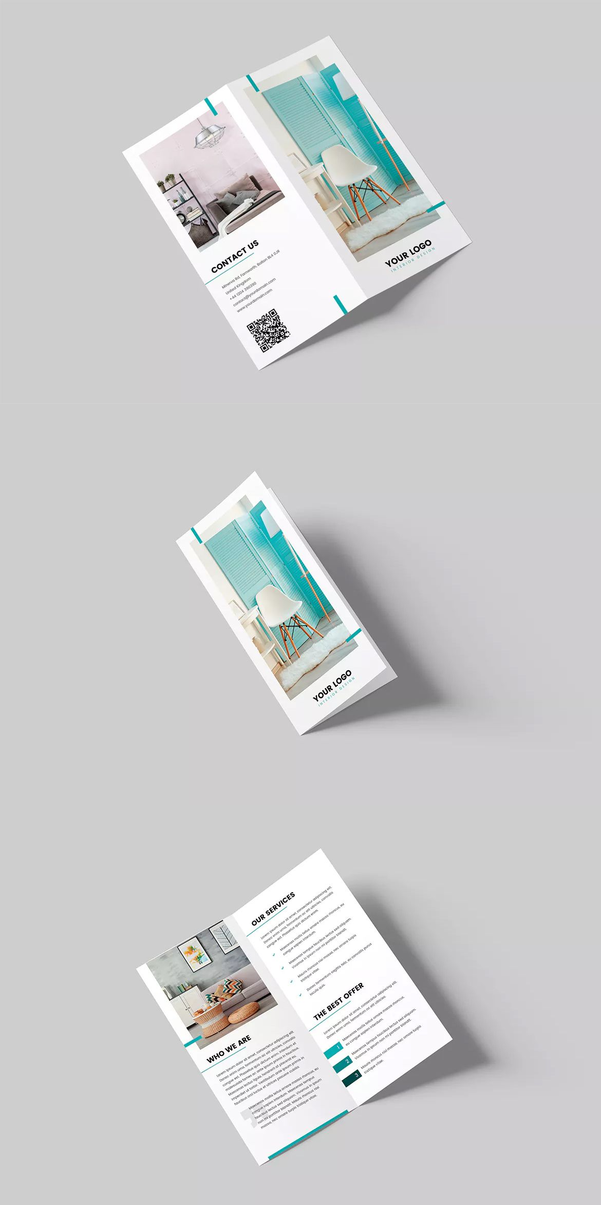 Interior Design Bi-Fold DL Brochure Template PSD | Brochure Design ...