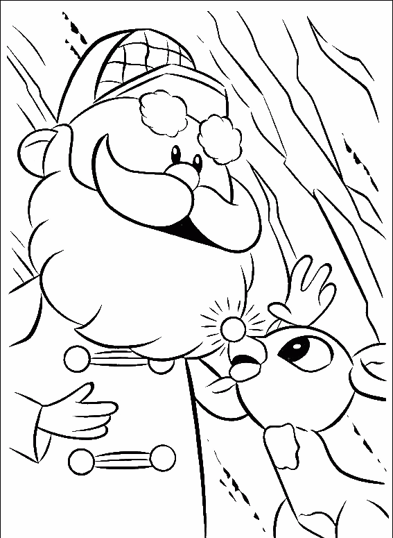 Baby Rudolph With Santa Coloring