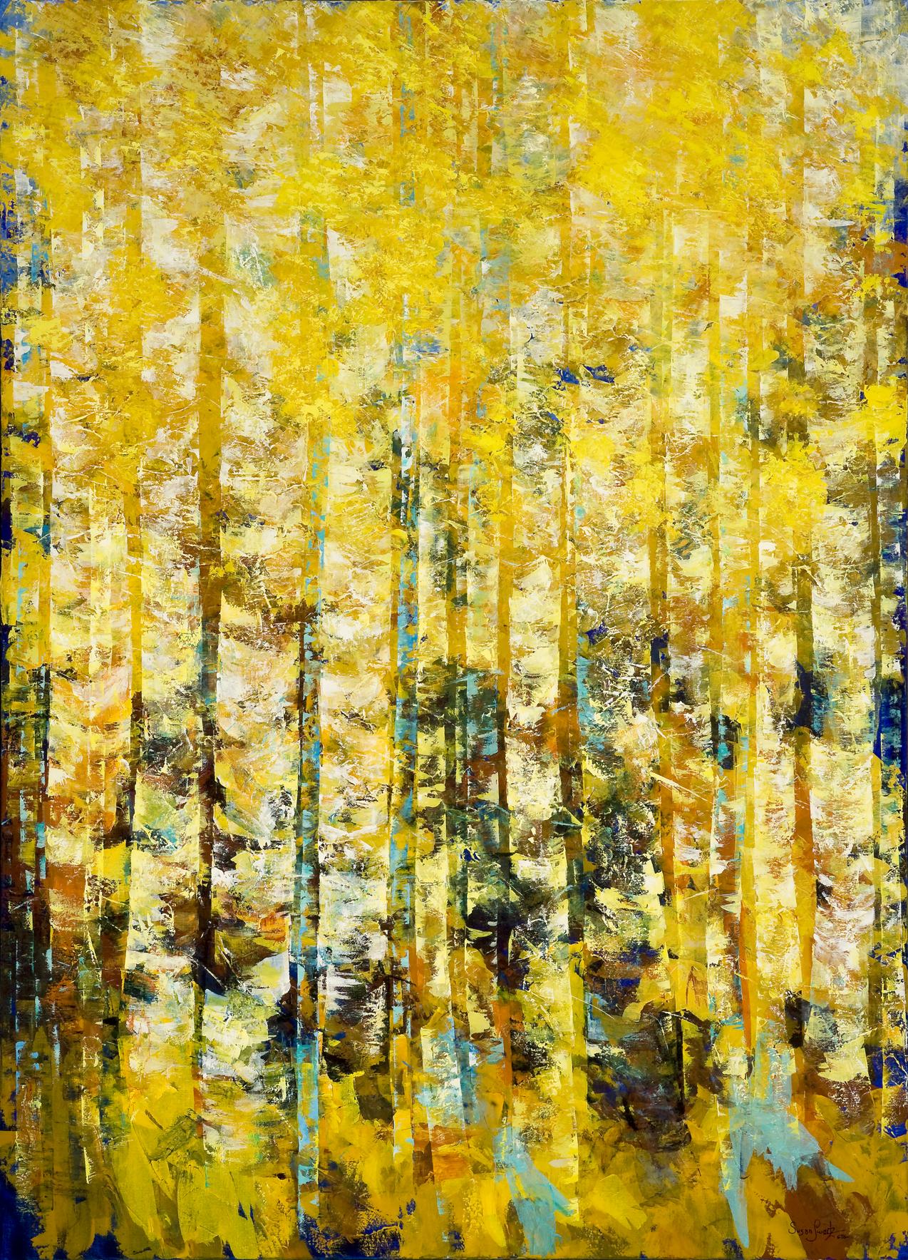 Golden Woodland / Susan Schwartz Art, Abstract landscape