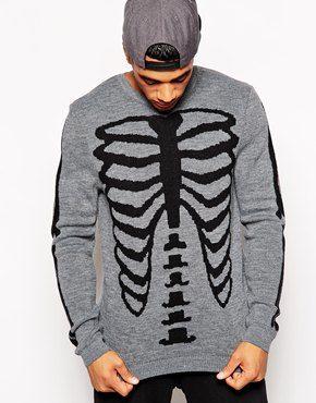 90f6411ed4 ASOS Halloween Jumper with Skeleton Design