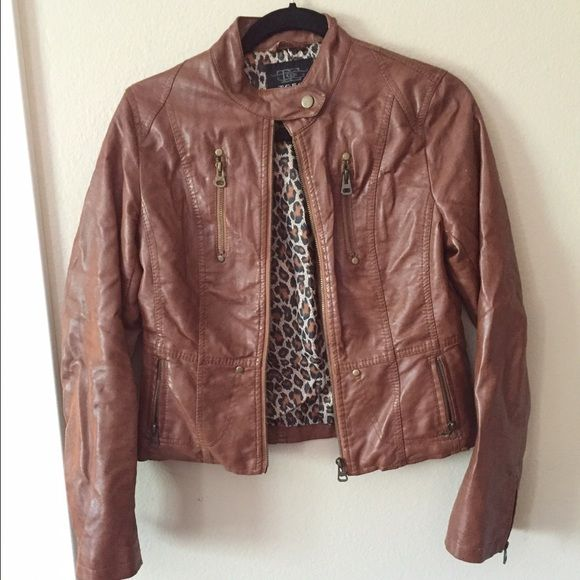 Brown faux leather jacket New without tags. Fitted. Size M, true to size. Jackets & Coats